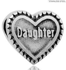 STAINLESS Steel European Charm Bead Daughter Heart Family Dark Love vix4pandora