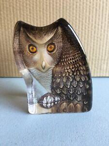 MATS JONASSON SWEDEN.. Coloured Owl Paperweight Owl S616