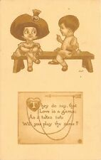 Bernhardt Wall Valentine~Little Boy & Girl~Love is a Game~Will You Play?~1912 PC