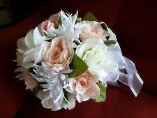 Handmade 8 in Dia.Bouquet- Pink & White Roses - White Ribbon & Lace Top Holder