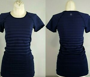ATHLETA Fastest Track Blue Top Size XS Athletic Workout Tee Shirt