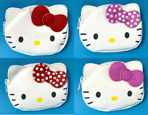 Hello Kitty coin purse Faux Leather Embroidered Cat White Wallet Holder kawaii