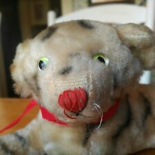 Antique Vintage 1950s White mohair Tiger Teddy Bear frenemy  Japan 4x10in VGC+