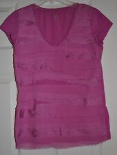 Ann Taylor LOFT Cap Sleeve Ruffle Layered Blouse Top Size Petite Small, SP