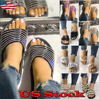 Women Ladies Chain Bead Slide Slip On Flip Flops Slipper Flat Sandals Shoes Size
