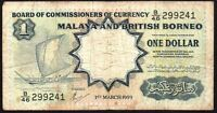 1959 Malaya And British Borneo 1 Dollar Banknote * B/46 299241 * VG+ * P-8A