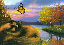 Calico tortoiseshell persian cat fall lake butterfly limited edition aceo print