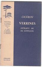 VERRINES CICERON Extraits du DE SUPPLICIIS TEXTES LATINS Cart Grimal Lamaison...