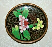 """Vintage Chinese Black & Blue Floral Cloisonne 2.75"""" Round Pin Dish"""