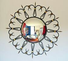 OMG RARE Mid-Century French Round Iron Framed Convex Mirror 1950