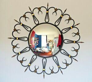 OMG RARE Mid-Century French Round Iron Framed Convex Mirror 1950