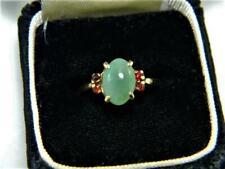 Vintage 1950's 14K Yellow Gold Ring w Burma Jadeite & Garnets, sz 6.5