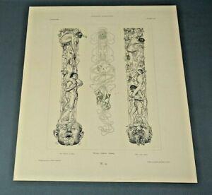 1906 Art Nouveau Gerlach Allegorien Art Print Plate G.Greiner  Heinrich Lefler