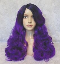 Long Thick Wavy Side Skin Part Black/ to Purple Full Synthetic Wig - 1391