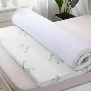 """1.6"""" (4CM) Bamboo Memory Foam Mattress Luxury Topper Soft Thick All UK Bed Sizes"""