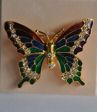 Kirks Folly Multi Color Enameled Butterfly And Crystal Pin In Gold Tone