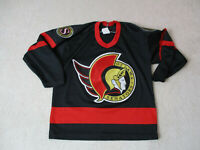 VINTAGE CCM Ottawa Senators Hockey Jersey Youth Extra Large Black Gold Kids Boys