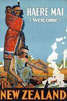 "Vintage Illustrated Travel Poster CANVAS PRINT Haere Mai New Zealand  24""X16"""