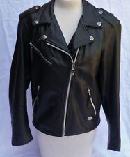 Harley Davidson Black Leather Biker Motorcycle Jacket Women's Size M
