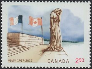 BATTLE OF VIMY RIDGE = 2.50 stamp from SS =Canada-France= MNH Canada 2017 #2981b