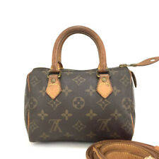 Louis Vuitton Monogram Mini Speedy Hand bag w/Shoulder Strap /208IG