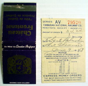 1948's OLD EXPRESS MONEY ORDERS RECEIPT, CN RAILWAY CO.+ 1 CP MATCHBOOK