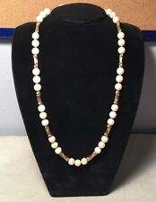 """Vintage Angel Skin Coral & 14k Yellow Gold Beaded Necklace 25.5"""""""
