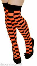 Long Over Knee Check Checked Socks Ladies Teens Neon Fancy Dress Thigh Highs