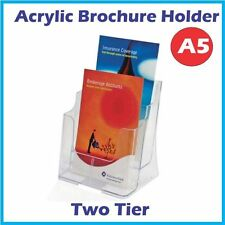 A5 Acrylic Brochure Holder / Menu Holders Two Tiers
