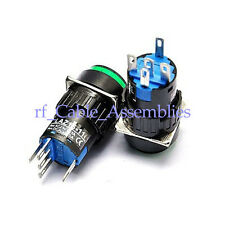5pcs 5 Pin Latching Green Round Push Button Switch with Light OFF-ON 3A 250V AC