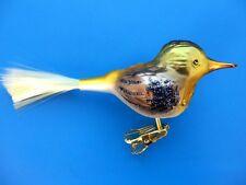 INGE GLAS CLIP ON CHIRPING BIRD VOGEL GERMAN BLOWN GLASS CHRISTMAS ORNAMENT