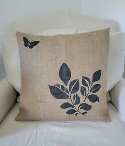 Natural & Black Plant and Butterfly Print Burlap Pillow Cover - Various Sizes
