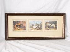 """Vintage 3 Horse Prints-Matted & Framed Together-22 X 9 1/2"""""""