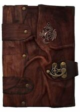 Handmade Real Leather Journal Diary Notebook Book Large Dragon Brown