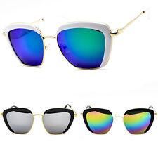 Women's Oversized Mirror Lens Cat Eye Sunglasses Ladies Semi Rim Retro 80's