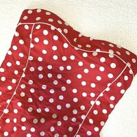 US 6 Nip Tuck Swim One Piece Multifit Cup Strapless Swimsuit Red White Polka Dot