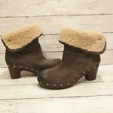 UGG Lynnea 1958 charcoal gray suede Clog fold over Boot Size 8 shearling lining