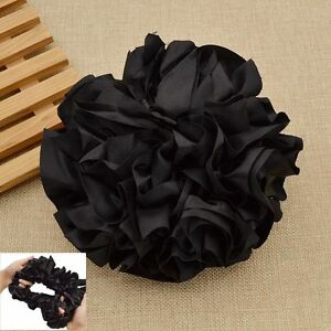 Women Elastic Black Hijab Scrunchie Hair Tie Volumising Pleuche Headwear 1pc New