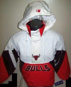 CHICAGO BULLS Limited Ed Starter Hooded Half Zip Pullover Jacket WHITE 2X