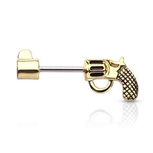 PAIR Revolver Pistol Gun Shaped Nipple Rings Shields Steel Barbells Body Jewelry