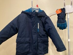 NWT Boys 4 in 1 Winter Jacket/Coat with matching gloves, SZ 2T ,Blue & Teal