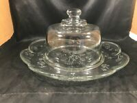 Anchor Hocking SAVANNAH TOSCANY Cheese Dome Cracker Platter Clear Glass