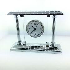 El Casco Executive Chrome & Glass Desk Clock M-663 CT