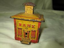 Small Antique Vintage Yellow Red Painted Cast Iron Coin Bank 3-1/4""