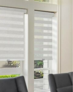 NEW Chicology Light Filtering Dual Layer Zebra Roller Shade - Basic Natural