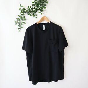 Athleta Women's Short Sleeve Chest Pocket Oversized Athletic Top L Large Black