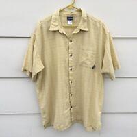 PATAGONIA ORGANIC COTTON Yellow  Plaid Size XL Casual Shirt Short Sleeve