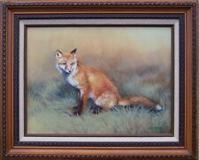 Red Fox by Bob Haynes original oil on canvas framed portrait of seated fox
