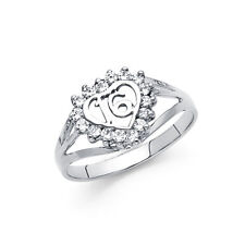 16 Birthday Heart Polished Fancy Ring Band Solid 14k White Real Gold Cz Sweet