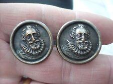 Boutons de col ancien 19ème cuivre argenté Henri IV